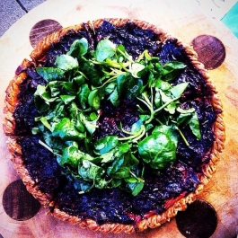 Beetroot, red onion and watercress tart with orange and walnut pastry.
