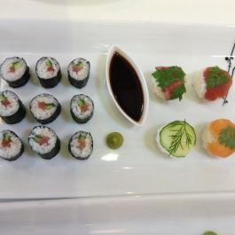 Sushi, wasabi and soya sauce at Ballymaloe Cookery School