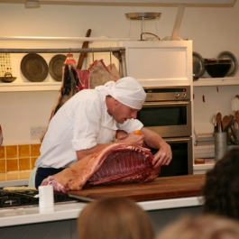 Philip showing us how to butcher like a professional at Ballymaloe Cookery School