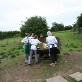 Darina & Students Feeding the Hens - Ballymaloe Cookery School