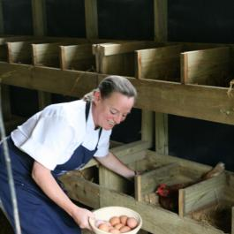 12 Week Certificate Student Collecting Eggs - Ballymaloe Cookery School