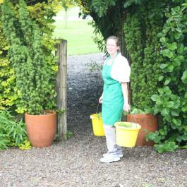 Florrie Feeding The Hens - Ballymaloe Cookery School