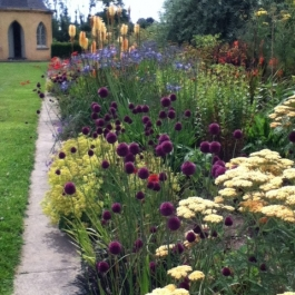 Herbaceous borders leading to shell house