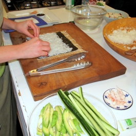Sushi being prepared on the counter